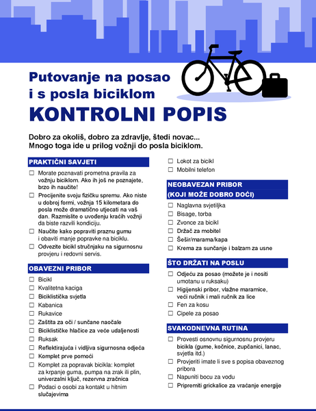Kontrolni popis za putovanje na posao i s posla biciklom