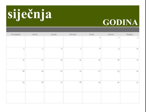 Predložak kalendara s natpisom