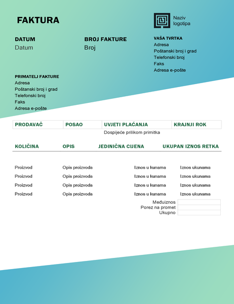 Faktura za uslugu (dizajn sa zelenim prijelazom)