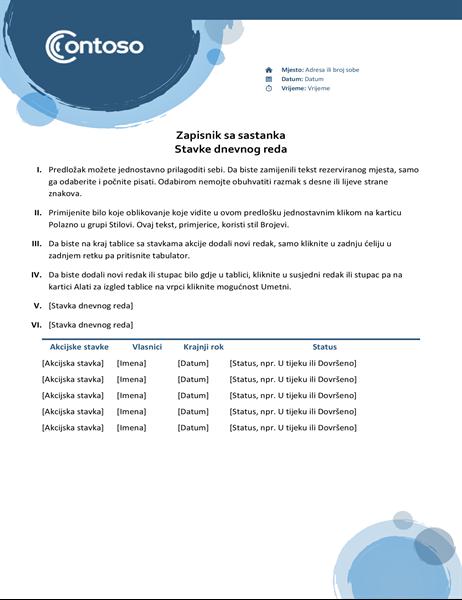 Zapisnici sa sastanka s motivom plavih kugli