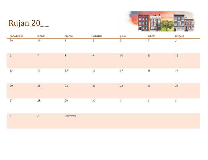 Sezonski ilustriran kalendar bilo koje godine