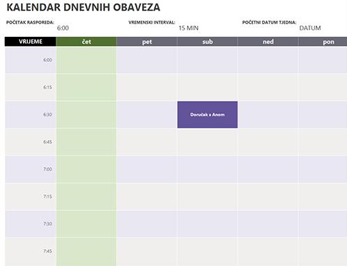 Kalendar dnevnih obveza