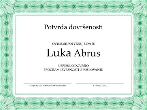 Potvrda dovršenosti (zelena)