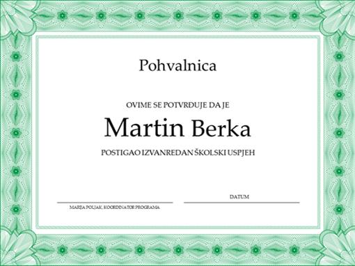 Pohvalnica (sa službenim zelenim obrubom)