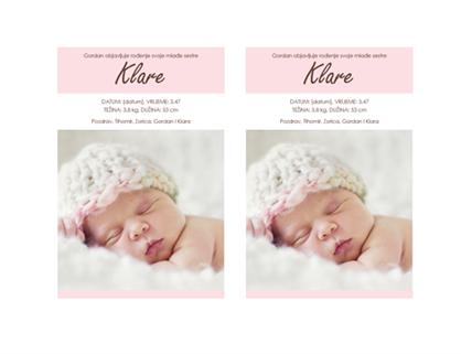 Objava rođenja djevojčice