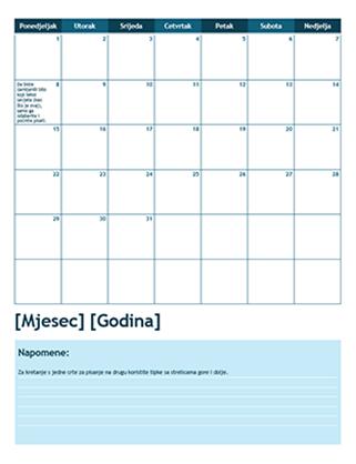 Akademski kalendar s jednim mjesecom (počinje u ponedjeljak)