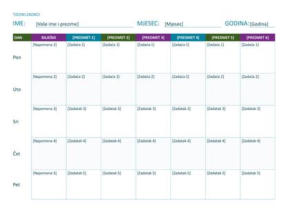 Tjedni raspored zadataka