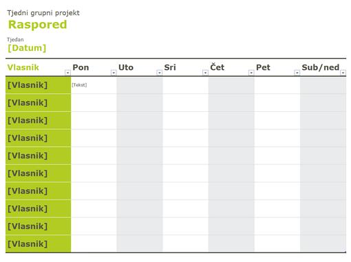 Raspored za grupu