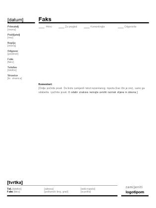 Naslovnica poslovnog faksa