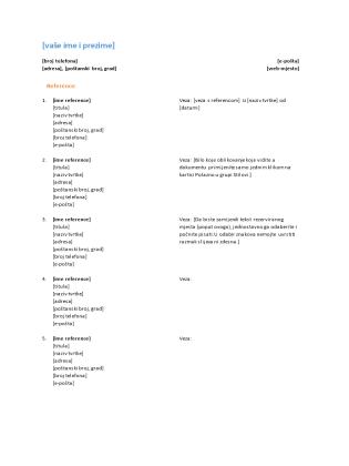 Popis referenci za životopis (funkcionalni dizajn)