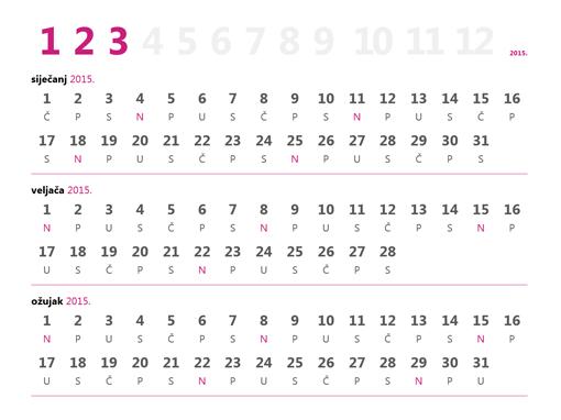 Tromjesečni kalendar za 2015.