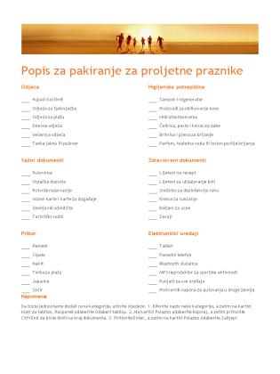 Popis za pakiranje