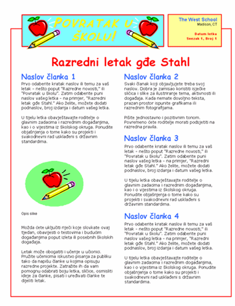 Razredni bilten (2 stupca, 2 stranice)