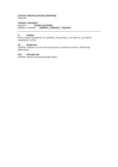 Zapisnik za sastanak organizacije (kraći oblik)