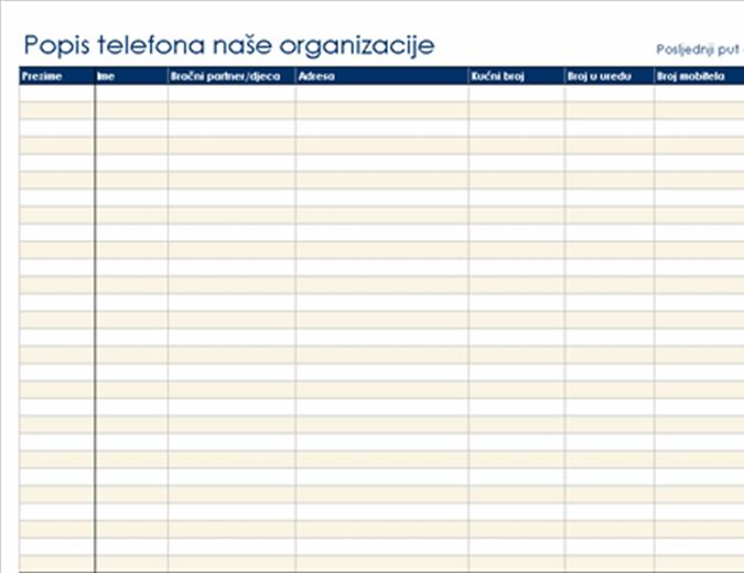 Organizacijski popis telefona
