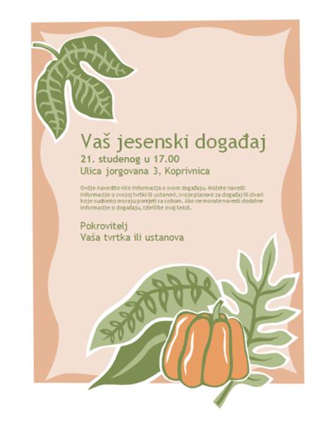 Pozivnica za jesenski događaj (s motivom bundeve)