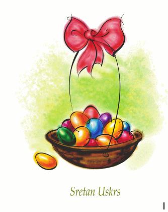 Uskršnja čestitka (s košarom jaja)