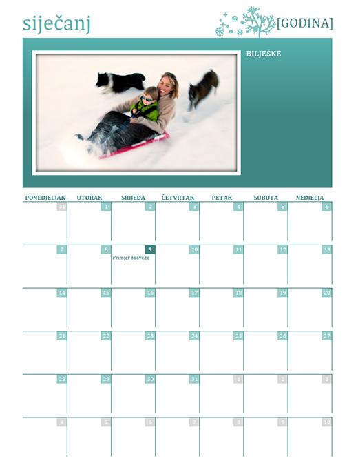 Obiteljski kalendar po godišnjim dobima (godina se postavlja, od ponedjeljka do nedjelje)