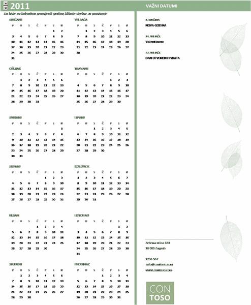 Kalendar za male tvrtke (godina se postavlja, od ponedjeljka do nedjelje)