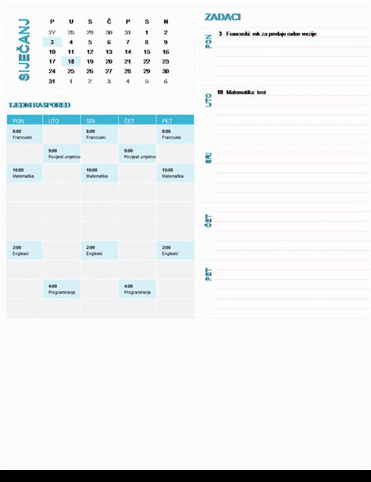 Studentski kalendar s planerom po tjednima (godina se postavlja, od ponedjeljka do nedjelje)