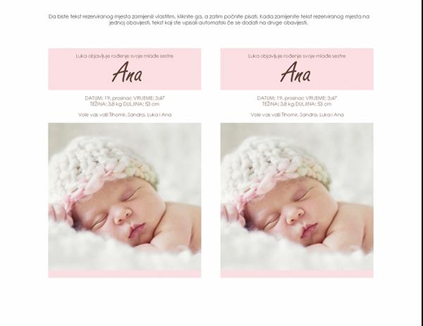 Obavijest o rođenju djeteta (djevojčice)