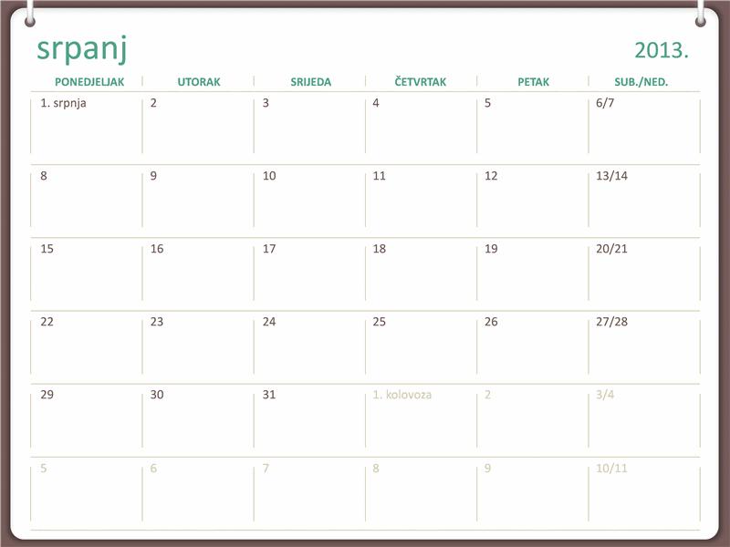 Kalendar za akademsku godinu 2013./2014. (srpanj)
