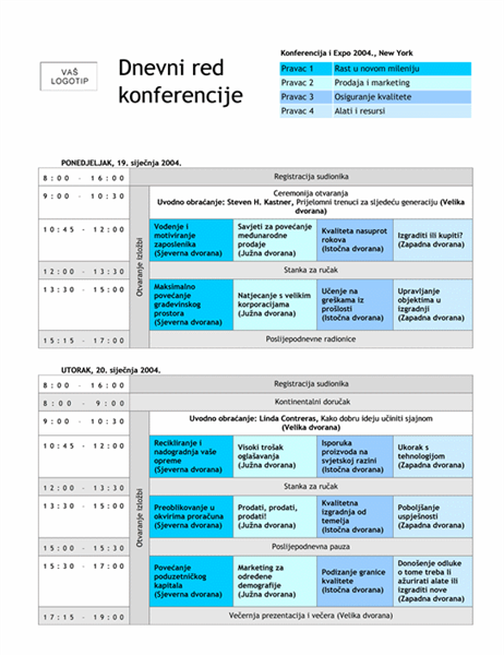 Dnevni red konferencije s evidencijama
