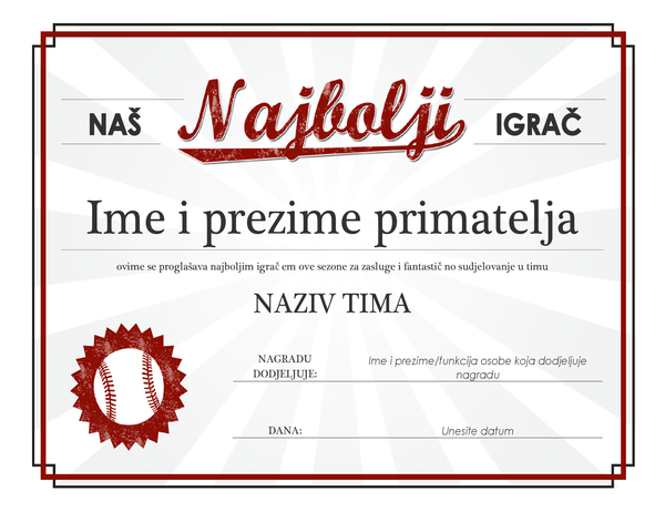 Diploma za najboljeg igrača