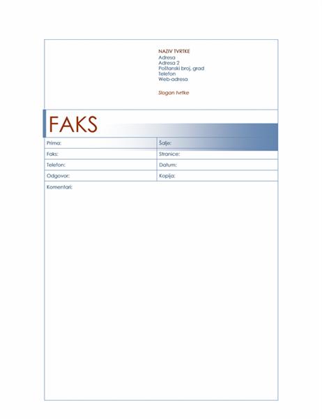 Naslovnica faksa (tema s plavom bojom)