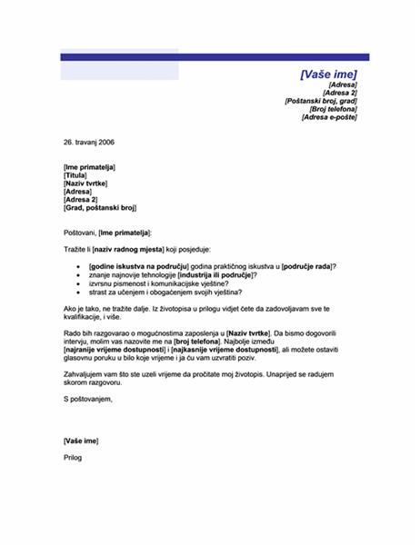 Popratno pismo za neželjeni životopis (tema s plavom crtom)