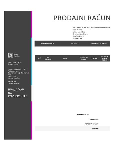 Prodajni račun (dizajn s plavim gradijentom)