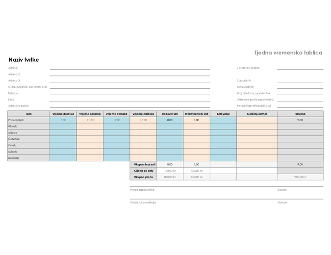 Tjedni raspored (8 1/2 x 11, vodoravni)