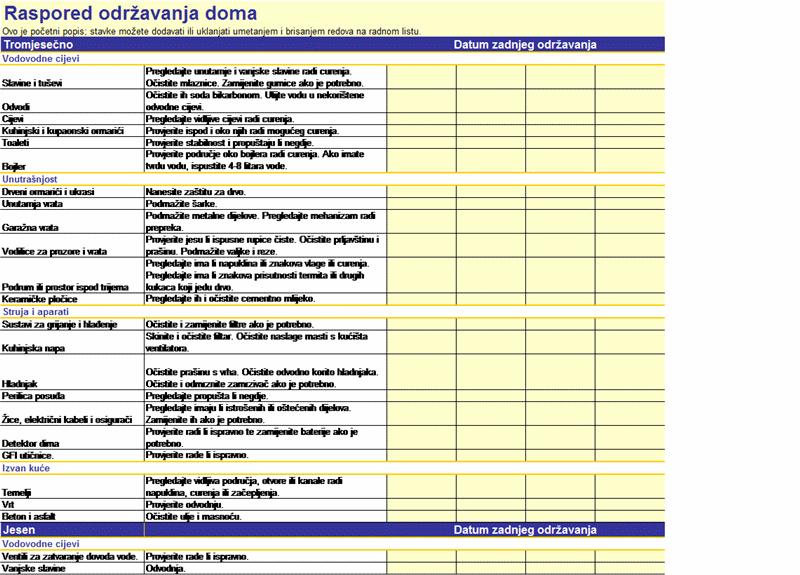 Raspored održavanja doma
