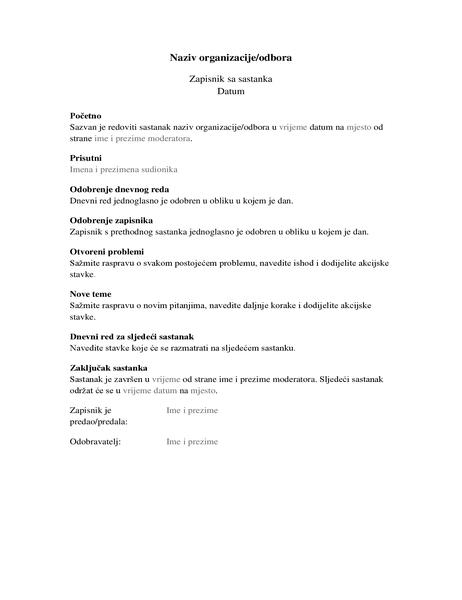 Zapisnik za sastanak organizacije (duži oblik)