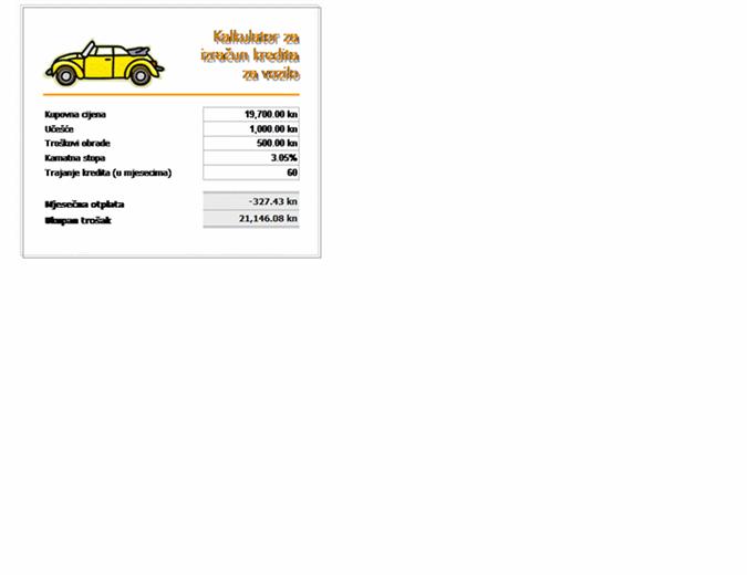Kalkulator za izračun kredita za vozilo