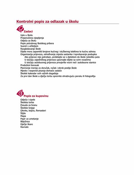 Kontrolni popis za odlazak u školu