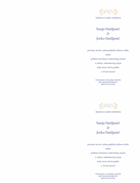 Pozivnica za vjenčanje (tradicionalna)