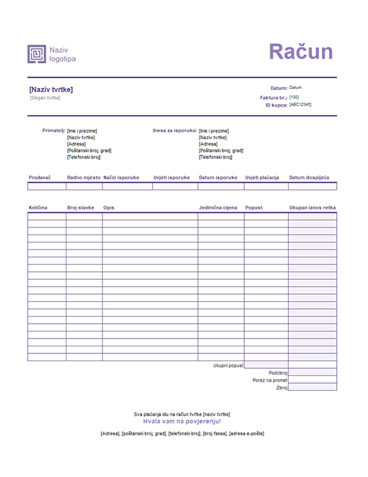 Izlazna faktura (dizajn s jednostavnim linijama)