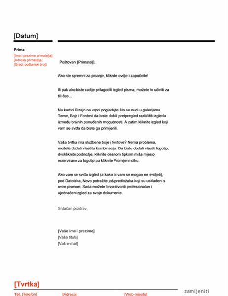 Zaglavlje pisma (crveno i crno)