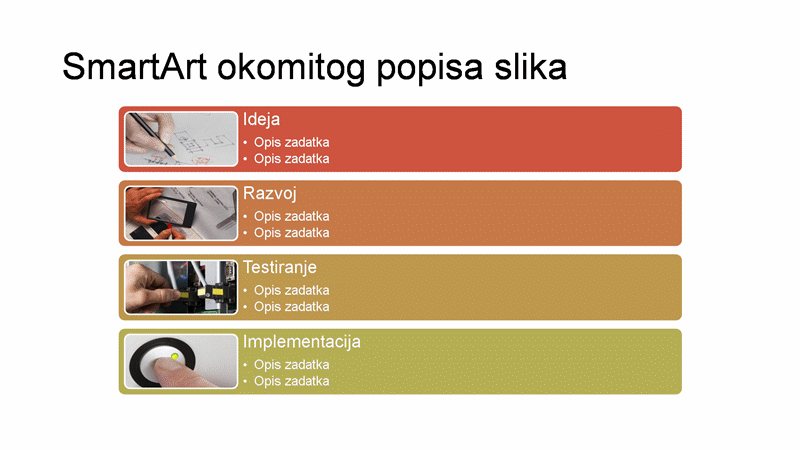 SmartArt slajd s okomitim popisom slika (više boja na crnom), široki zaslon