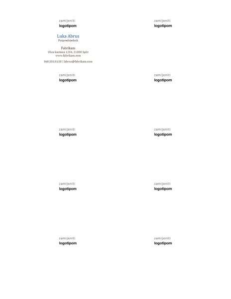 Posjetnice, vodoravan raspored s logotipom, ime i prezime pisani velikim početnim slovima