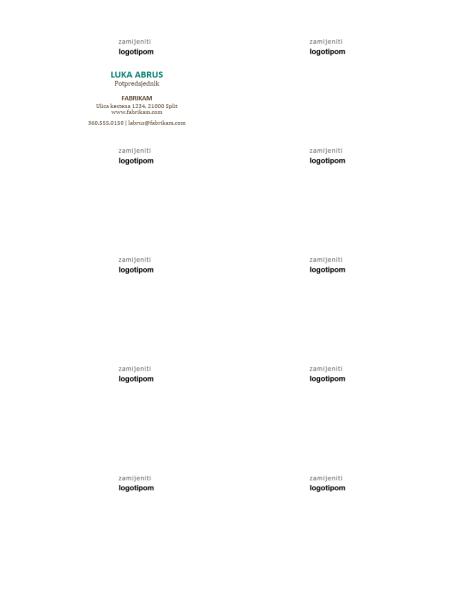 Posjetnice, vodoravan raspored s logotipom, ime i prezime pisani velikim slovima
