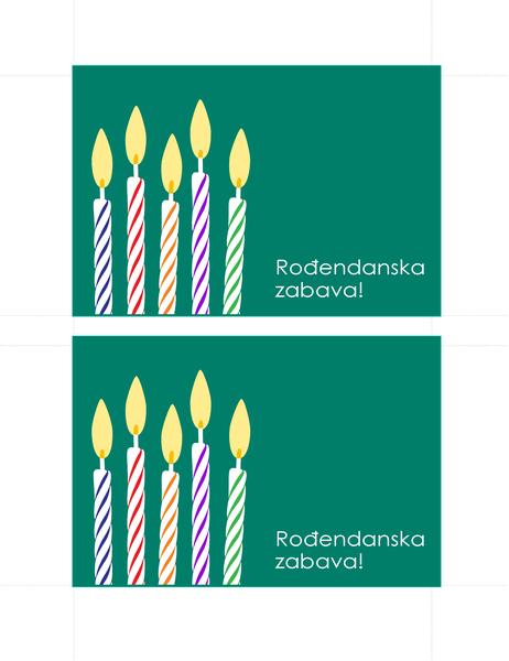 Razglednice s pozivnicama za rođendan (2 po stranici)