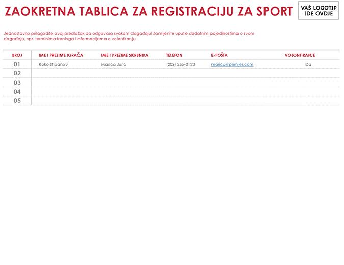 List za registraciju za sportske aktivnosti