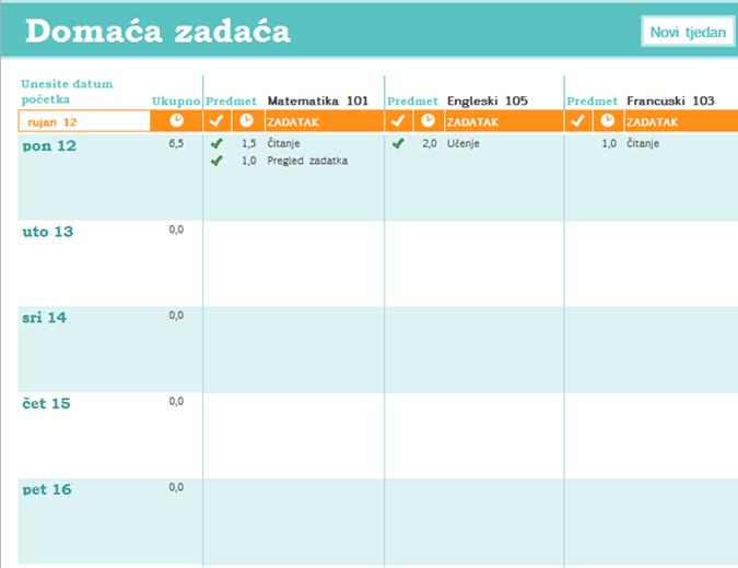Raspored domaće zadaće
