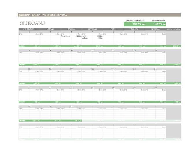Kalendar o troškovima za bilo koju godinu