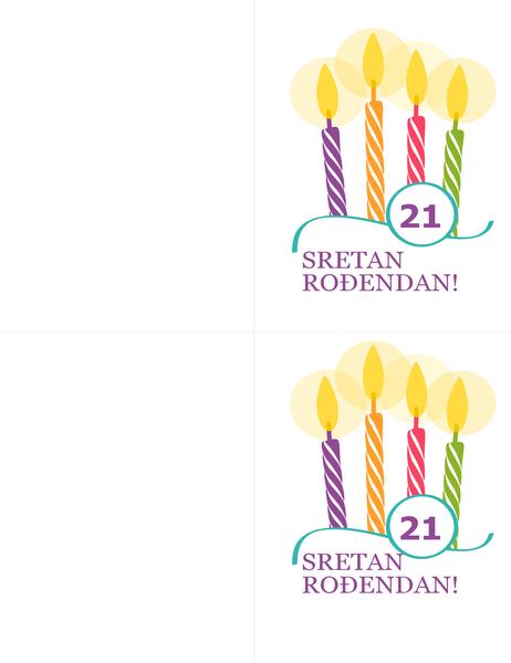Rođendanske čestitke za ključne rođendane (2 po stranici, za papir Avery 8315)