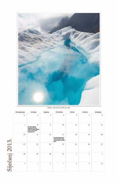Mjesečni kalendar s fotografijama za 2013. (od ponedjeljka do nedjelje)