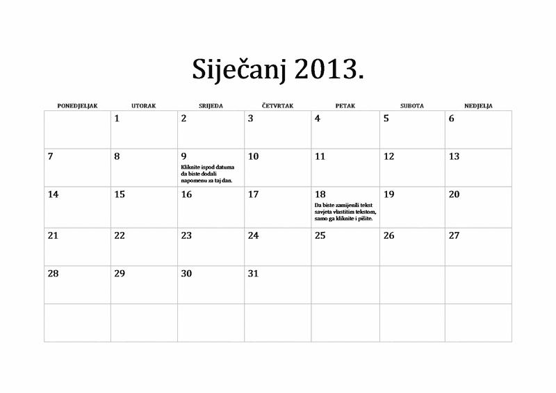 Klasični kalendar za 2013. (od ponedjeljka do nedjelje)