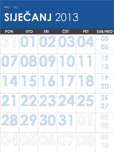 Višebojni kalendar za 2013. i 2014. (od ponedjeljka do nedjelje)